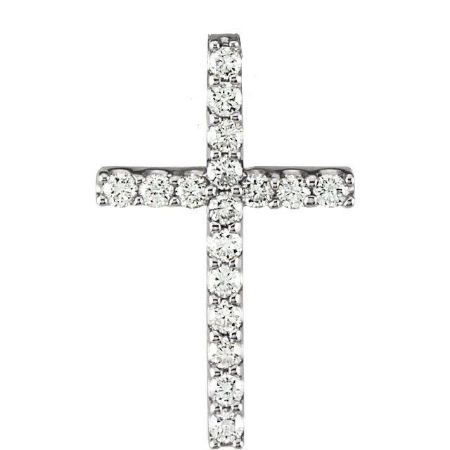 14K White 1/5 CTW Petite Diamond Cross 18