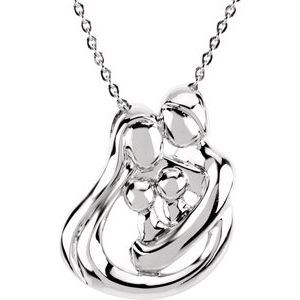 """Sterling Silver 2 Child Family 18"""" Necklace"""