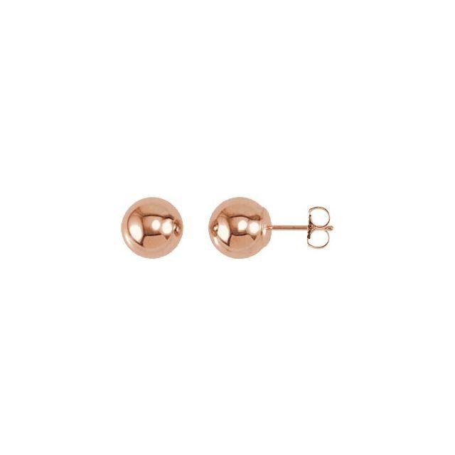 14K Rose 8 mm Ball Earrings