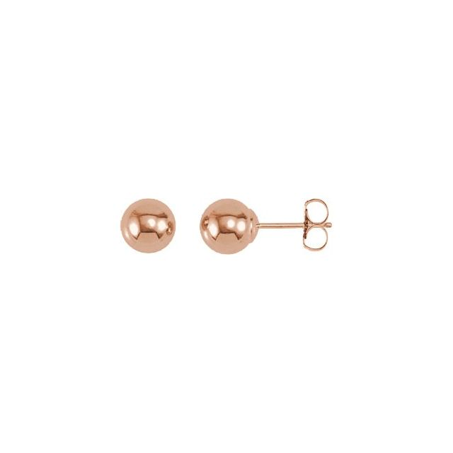 14K Rose 6 mm Ball Earrings