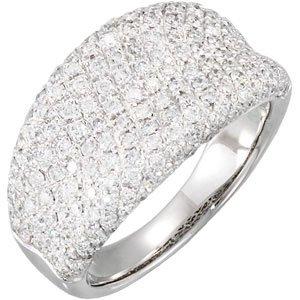 14K White 1 1/5 CTW Diamond Pavé Ring