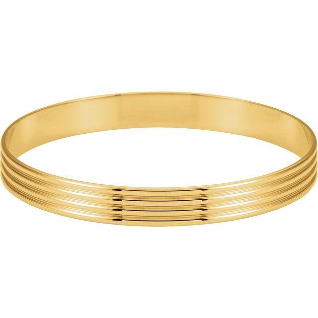 14K Yellow 8 mm Grooved Bangle Bracelet