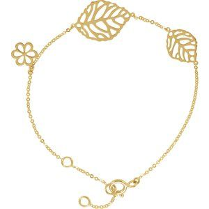 14K Yellow Leaf & Floral-Inspired Bracelet