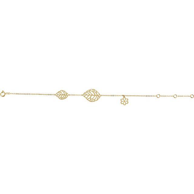 14K Yellow Leaf & Floral-Inspired Bracelet