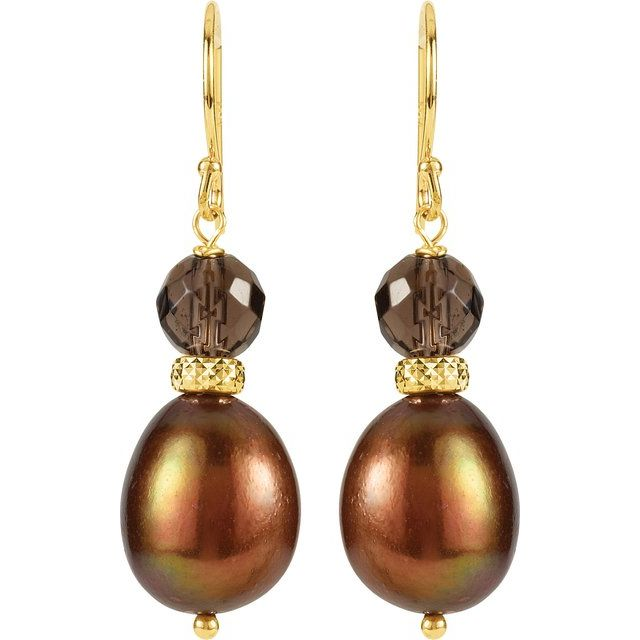 14K Yellow Freshwater Cultured Pearl & Smoky Quartz Earrings
