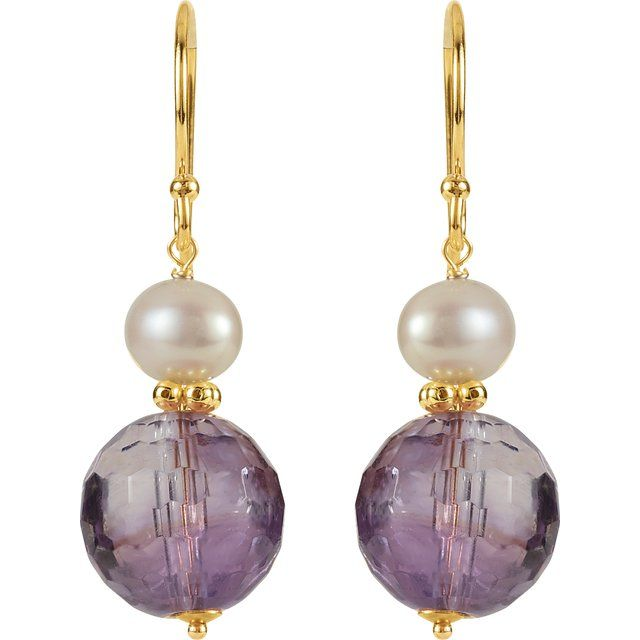 14K Yellow Amethyst & Freshwater Cultured Pearl Earrings