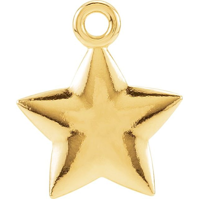 14K Yellow 11.5x9.75 mm Puffed Star Charm with Jump Ring