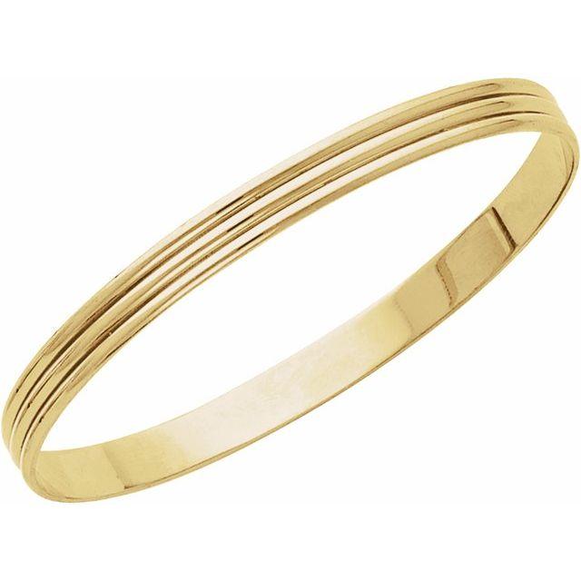 14K Yellow 6 mm Grooved Bangle Bracelet