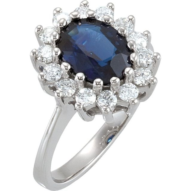 14K White 9 x 7 mm Oval Blue Sapphire & 1/2 CTW Diamond Halo-Style Ring