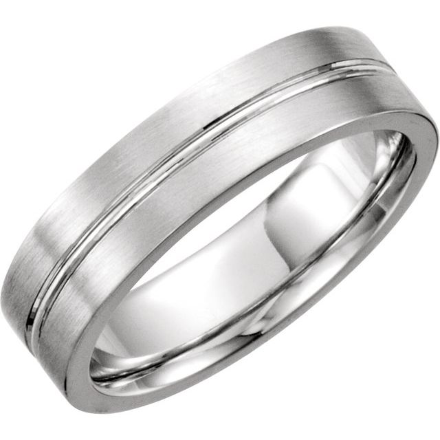 14K White 8 mm Grooved Band Size 9