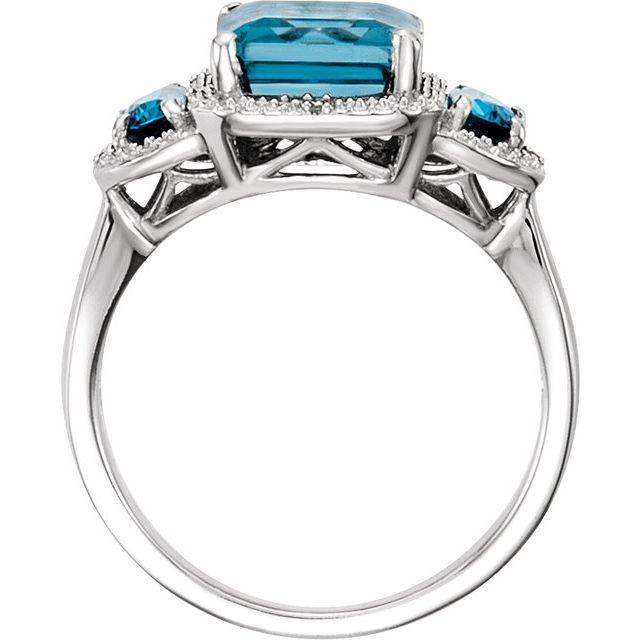 14K White London Blue Topaz & .03 CTW Diamond Ring
