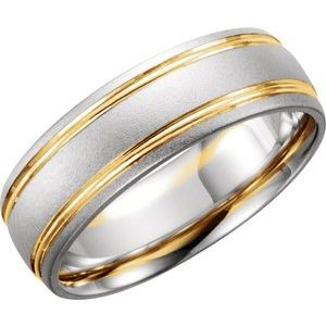 14K White/Yellow 7 mm Grooved Band with Bead Blast Finish Size 5.5