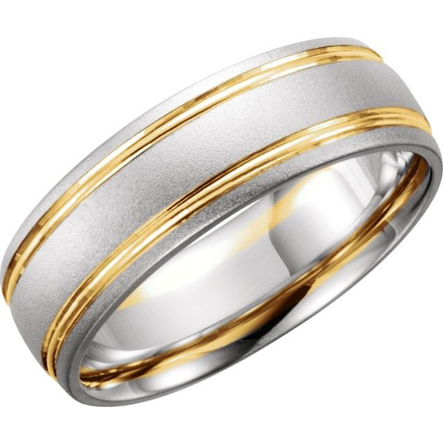 14K White/Yellow 7 mm Grooved Band with Bead Blast Finish Size 8