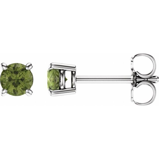 14K White 4 mm Round Peridot Earrings