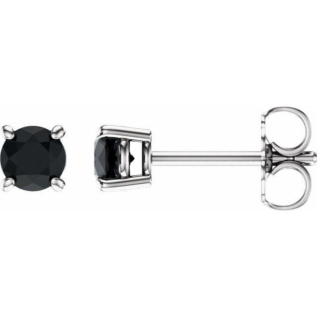 14K White 4 mm Round Onyx Earrings
