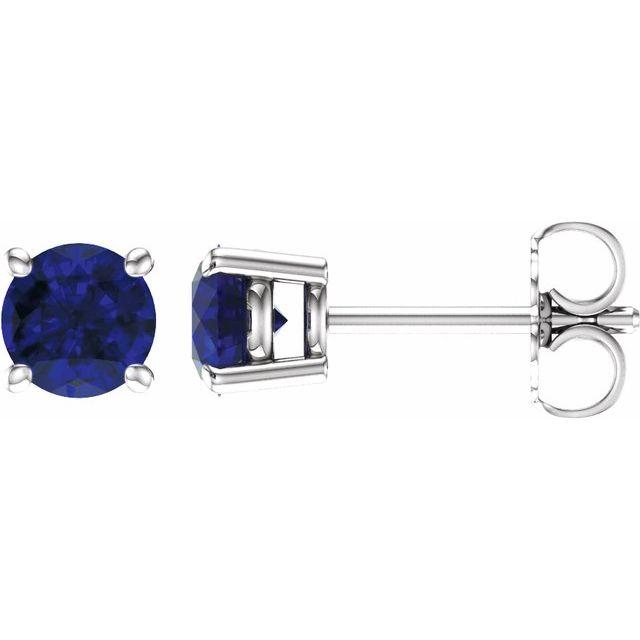 14K White 5 mm Natural Blue Sapphire Earrings
