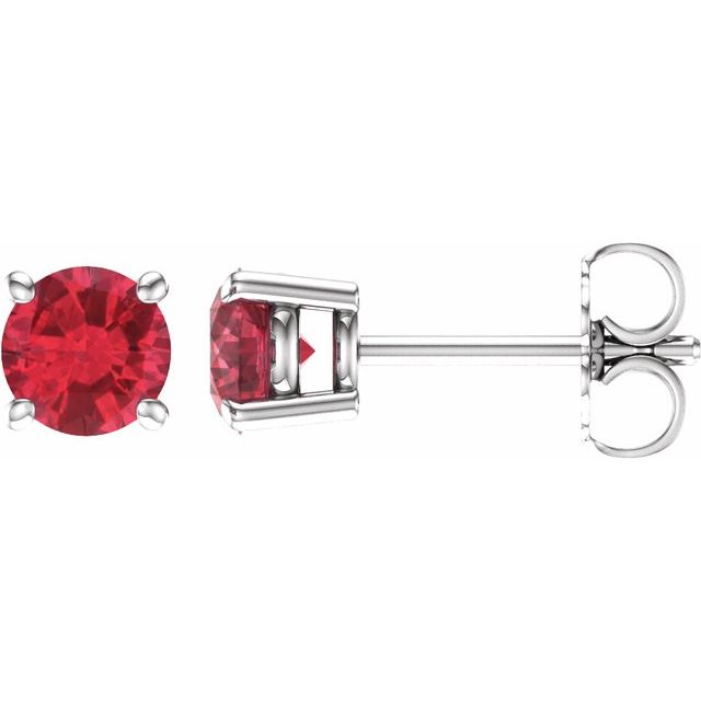 14K White 5 mm Round Lab-Grown Ruby Earrings