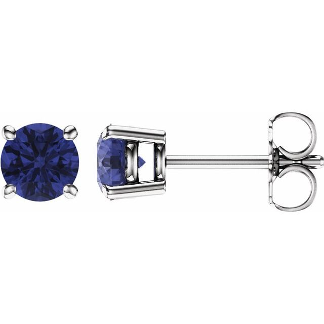 14K White 5 mm Round Tanzanite Earrings