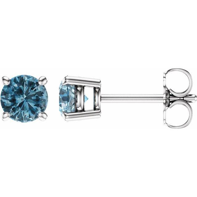 14K White 5 mm Round Sky Blue Topaz Earrings