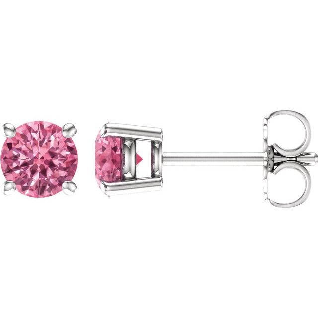14K White 5 mm Round Baby Pink Topaz Earrings