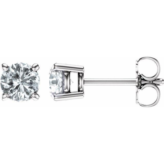14K White 5 mm Round Sapphire Earrings