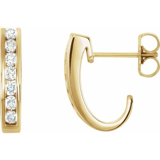 Channel-Set Diamond J-Hoop Earrings