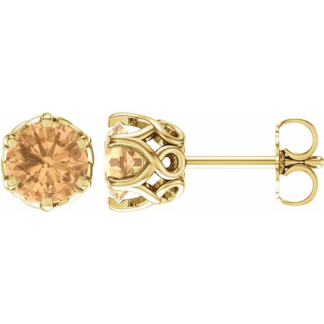 14K Yellow Honey Topaz Earrings