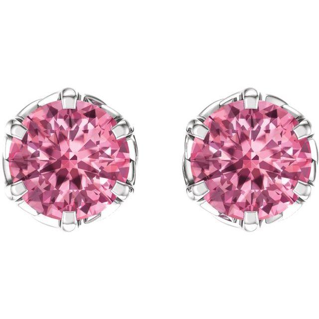 14K White Baby Pink Topaz Earrings