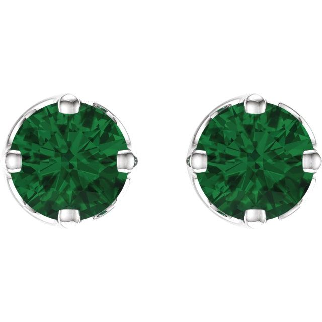 14K White Chatham® Created Emerald Earrings