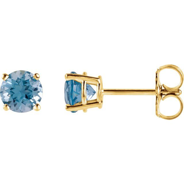 14K Yellow 5 mm Round Swiss Blue Topaz Earrings