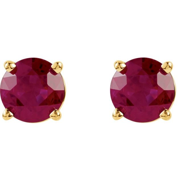 14K Yellow 5 mm Round Ruby Earrings