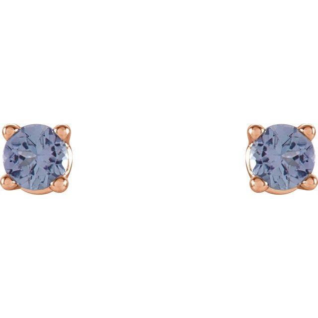 14K Rose 2.5 mm Round Tanzanite Earrings