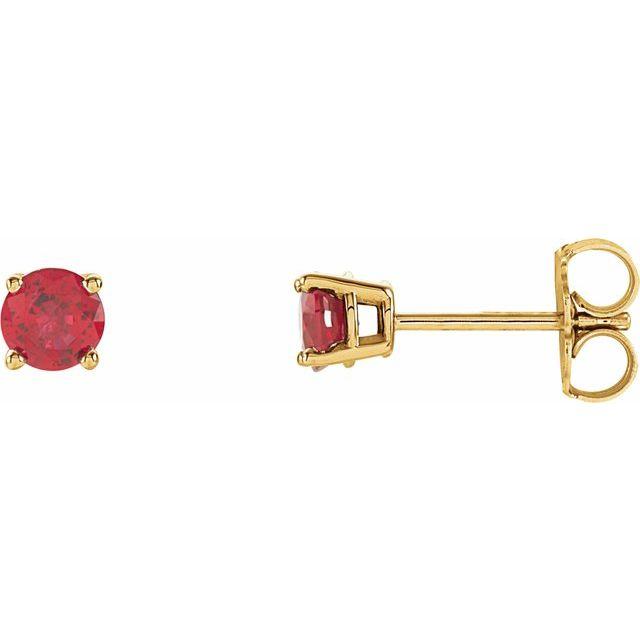 14K Yellow 4 mm Round Lab-Grown Ruby Earrings