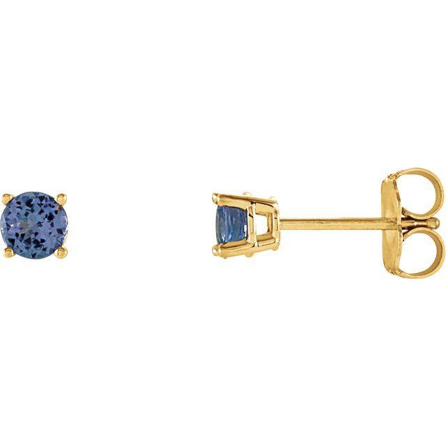14K Yellow 4 mm Round Tanzanite Earrings