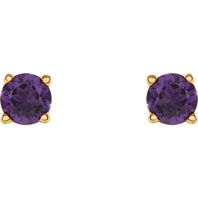 14K Yellow 4 mm Natural Amethyst Earrings