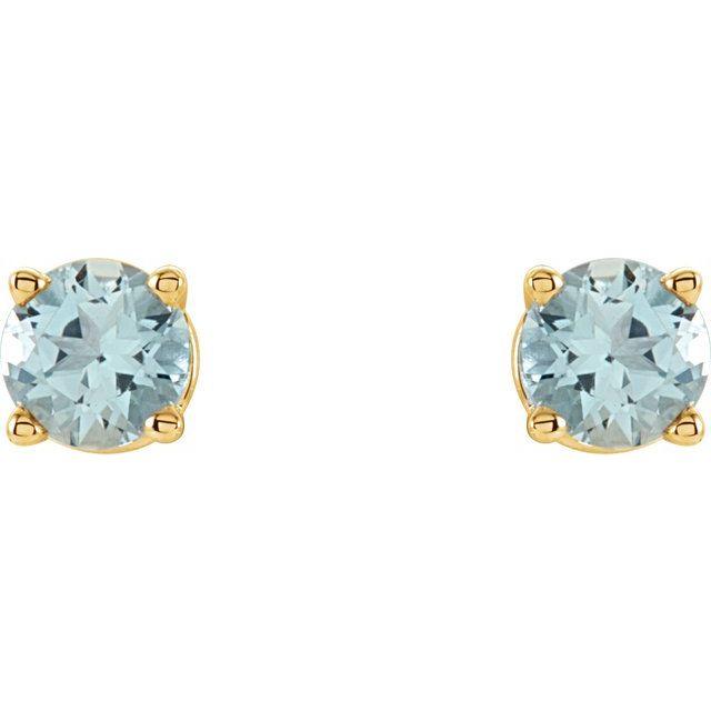 14K Yellow 4 mm Round Aquamarine Earrings