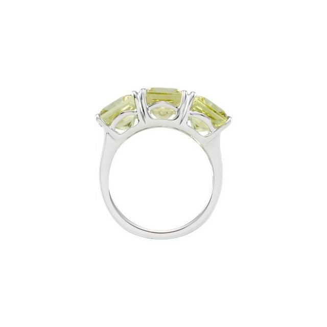 Sterling Silver Lime Quartz 3 Stone Ring