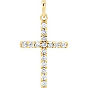 14K Yellow 1/2 CTW Diamond Cross Pendant