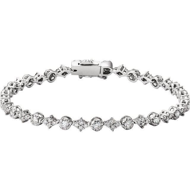 "14K White 2 1/2 CTW Diamond 7.5"" Bracelet"