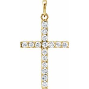 14K Yellow 3/4 CTW Diamond Cross Pendant