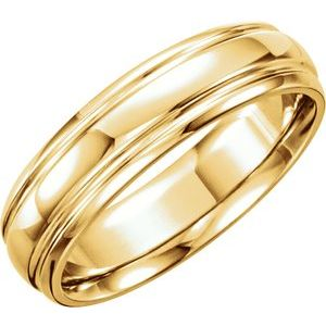 14K Yellow 6 mm Grooved Band Size 11