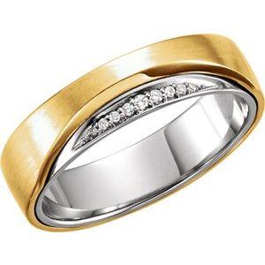 14K Yellow/White 6mm .05 CTW Diamond Band Size 7