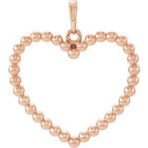 14K Rose Beaded Heart Pendant