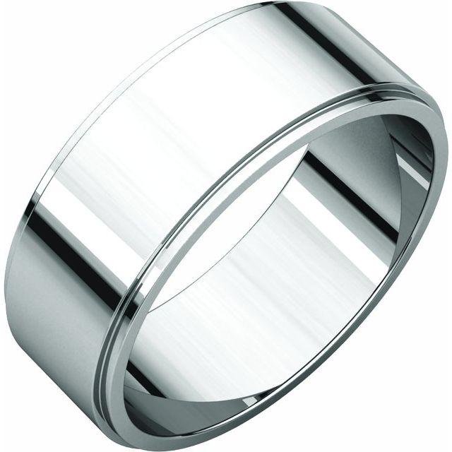 14K White 7 mm Flat Edge Band Size 8