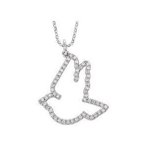 "14K White 1/4 CTW Diamond Dove 16"" Necklace"