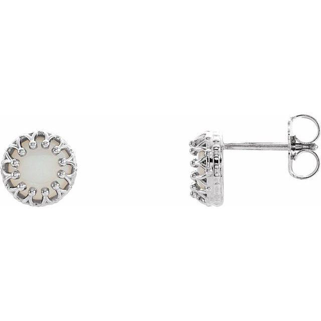 14K White 6 mm Round Opal Earrings