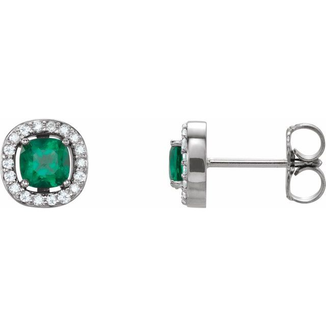 14K White Chatham® Created Emerald & .08 CTW Diamond Earrings
