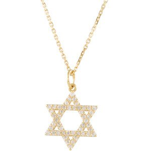 14K Yellow 1/5 CTW Diamond Star of David Necklace