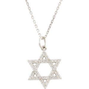 14K White 1/5 CTW Diamond Star of David Necklace