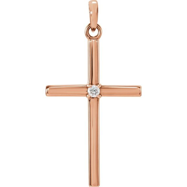 14K Rose 26.5x13.75 mm .02 CT Diamond Cross Pendant